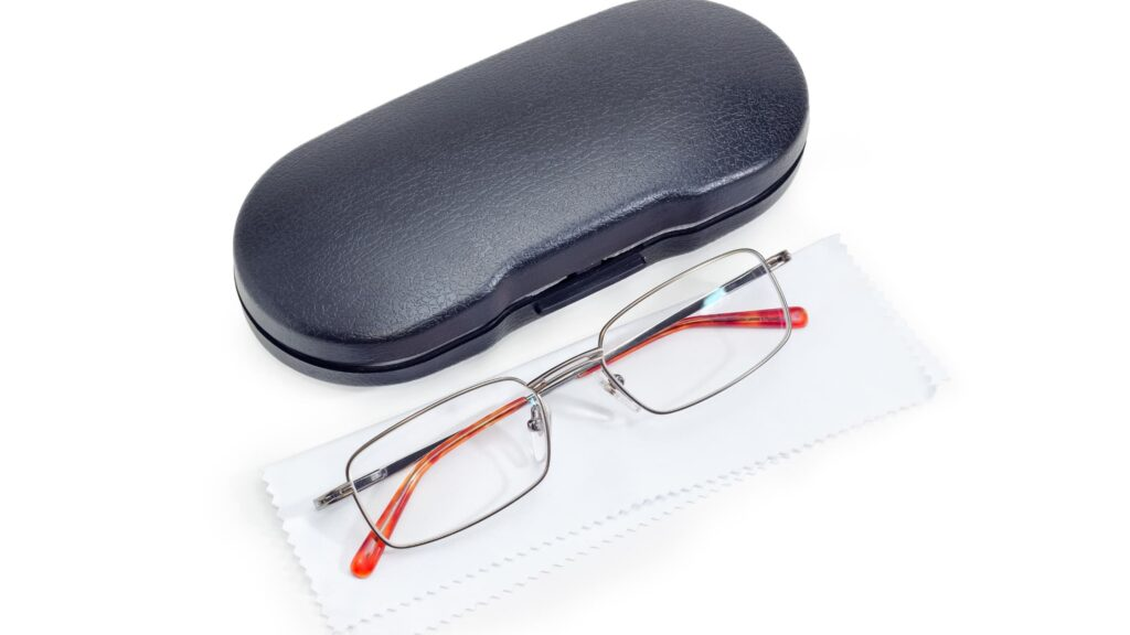 Hard case shell with a pair of glasses
